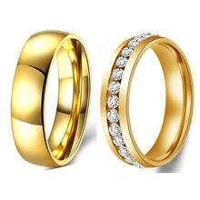 Casamento de cristal de Aço inoxidável 316 de Aço de Titânio Anéis de Dedo para as mulheres e Homens de aço inoxidável anel promoção desconto