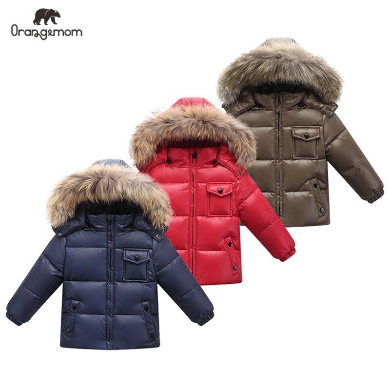 2019 nova orangemom loja oficial criancas roupas de inverno pato para baixo meninos meninas jaquetas infantil