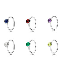 Authentic 925 Sterling Silver Ring Charm Diy Round Cz Crystal Red Purple Blue Green Finger Ring For Women Party Jewelry creativesugar crystal butterfly charm woman satin wedges stable med heel wedding prom shoes purple red silver grey royal blue