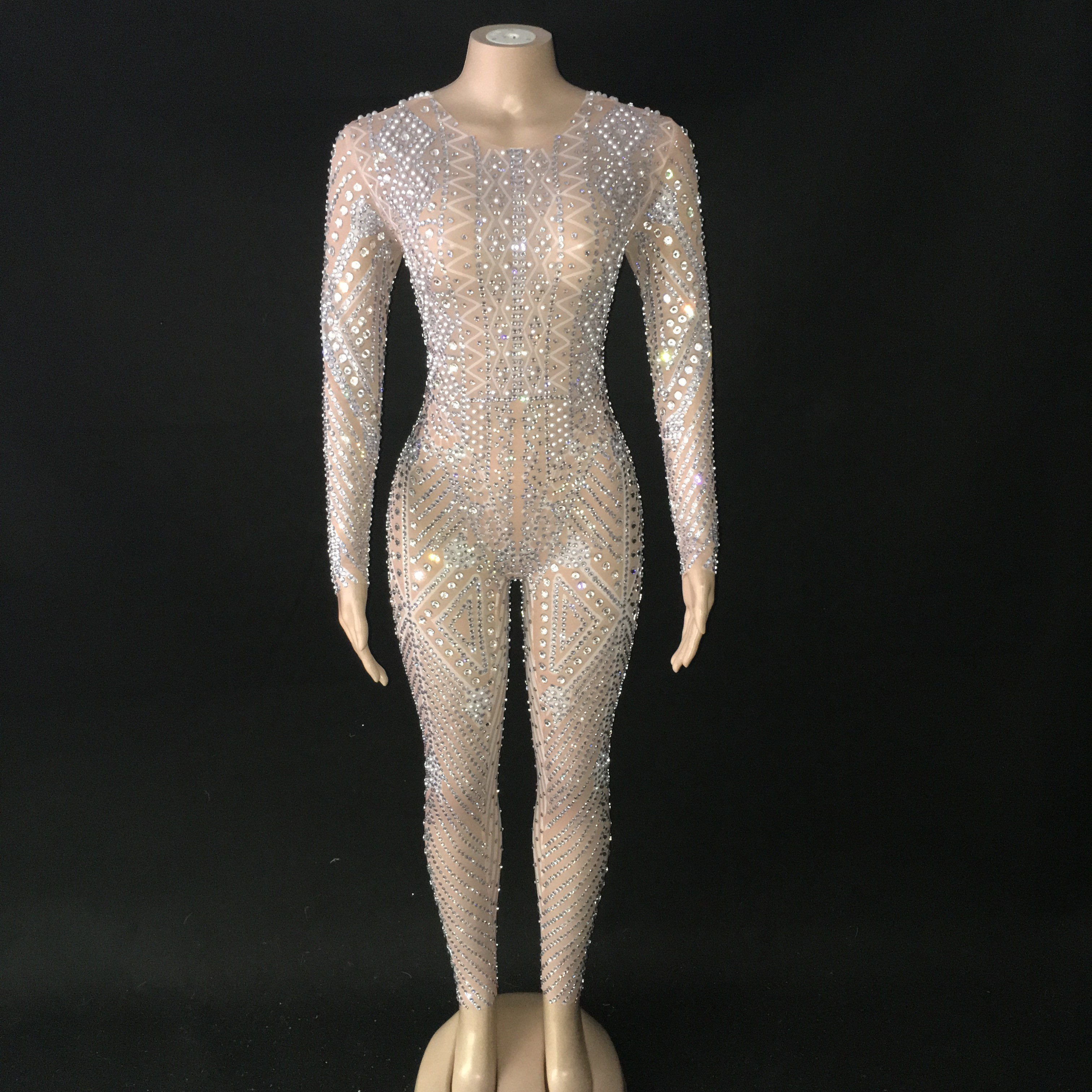 Mesh See Through Sparkly Bodysuit Rhinestone Long Sleeve Jumpsuit Evening   Birthday Celebrate Costume Perspective Outfit YOUDU