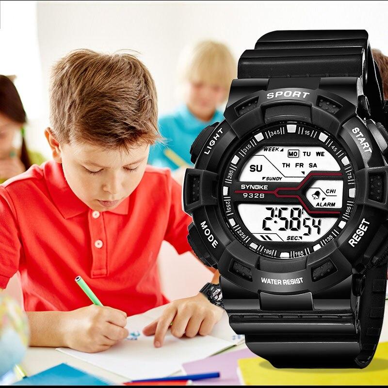 SYNOKE Дети Часы Девочки Белый Цифровой Наручные часы Водонепроницаемый Спорт Дети Часы Подарки Будильник Мальчики Часы 2020