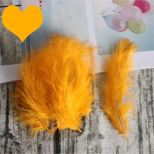 Натуральные Шлейфы 50 шт. 4-6 дюймов 10-15 см индейка перья марабу шлейф пышное свадебное платье DIY украшения аксессуары перья - Цвет: Golden yellow
