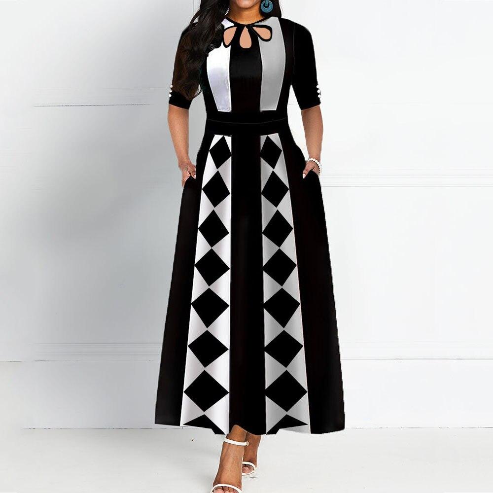 Geometric Pattern Vintage Elegant Long Dress Spring Summer African Prom Party Dresses Women Black Maxi A Line Office Vestidos