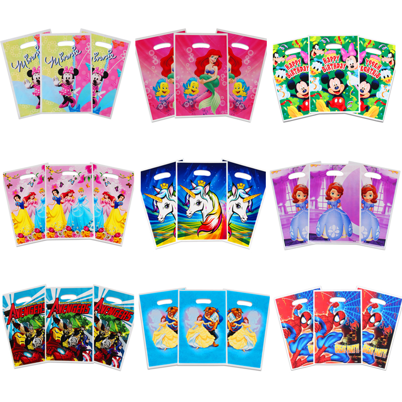 20pcs/lot Cartoon Unicorn/Mermaid/Princess/Spiderman/Avenger/Moana Gift Bag Loot Bag Wedding Birthday Party Decor Candy Bag