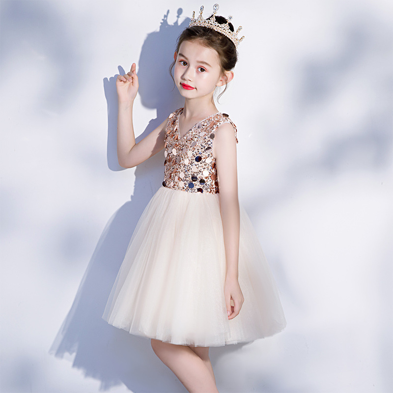CHILDREN'S Dress Princess Dress 2019 New Style Gold-Tone Girls Tutu Small Host Catwalks Performance Evening Dress