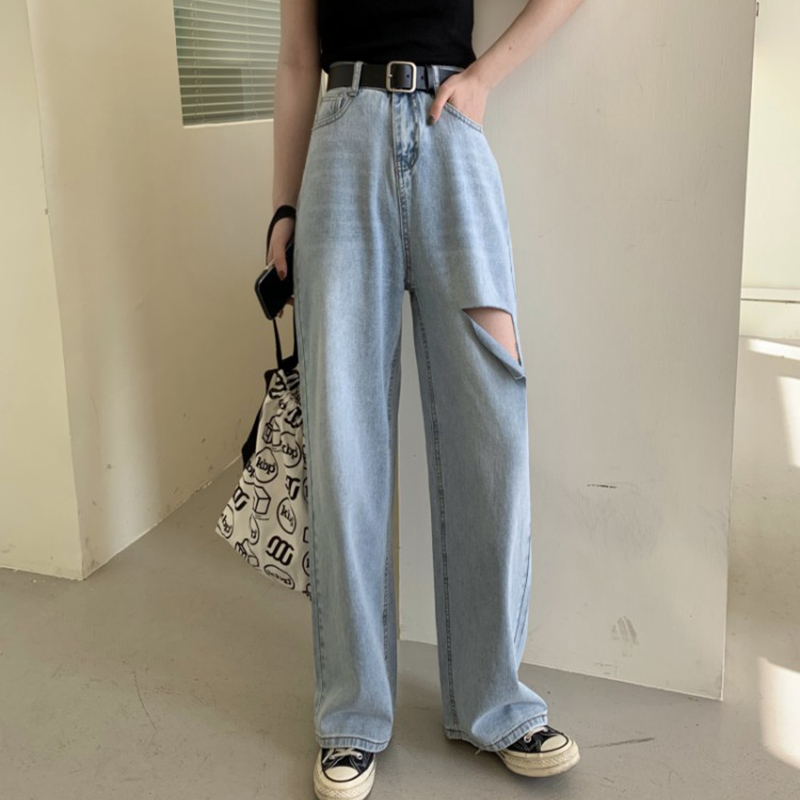 Hole Ripped High Waist Straight Jeans Women Blue Casual Loose Wide Leg Jeans Trouser Vintage Korean Plus Size Boyfriend New Y423