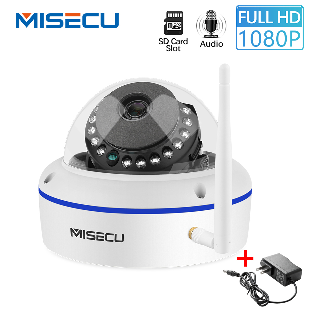 MISECU 1080P IP Camera Vandal-proof WiFi With SD Card Slot Max 64GB ONVIF P2P Motion Detect Alert Dome Security Wireless Camera