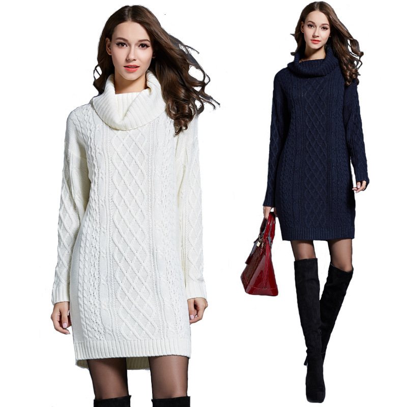 Autumn Winter Knitted Cotton Sweater Dresses Women Fashion Loose Turtleneck Pullover Female Knitted Dress Vestidos Feminino