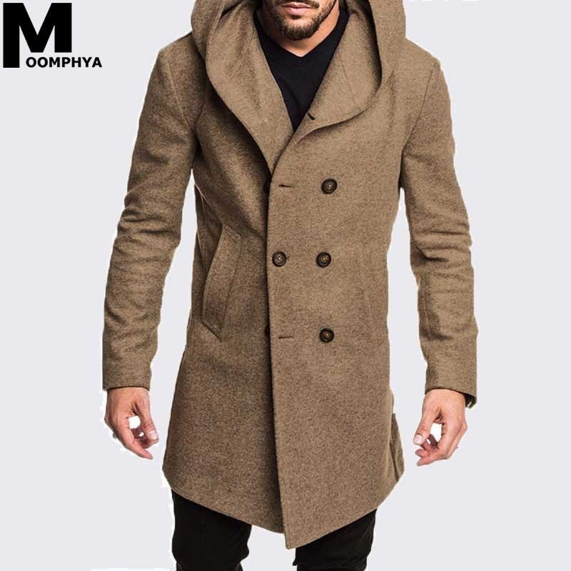 Moomphya Hooded Woolen Blends Men Overcoat Winter Windbreaker Jacket Men Streetwear Hip Hop Long Style Outwear Jackets Coat