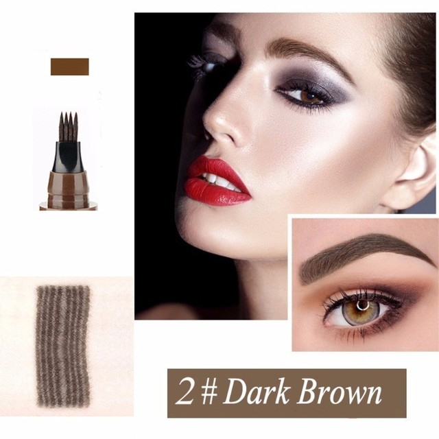 Makeup Microblading Four Fork Tip Eyebrow Pencil Waterproof Eye Brow Tattoo Pen  Fine Sketch Enhancer Makeup Cosmetic TSLM2 3