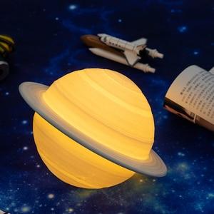 Image 5 - 2019 NUOVO Dropship Ricaricabile 3D Stampa Saturn Lampada Come Luna di Notte Della Lampada Della Luce Per La luce della Luna con 2 Colori 16 colori Remote Regali