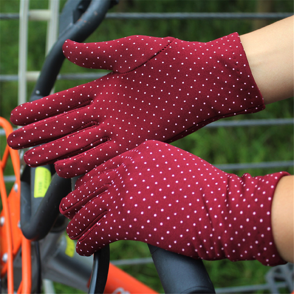 H4c50922cff884077ba2044fb689a4a34B - 1 Pair Gloves Women Touch Screen Thin Warm Gloves Bicycle Elastic Wrist Mittens Polka Dots Luvas Guantes Handschoenen