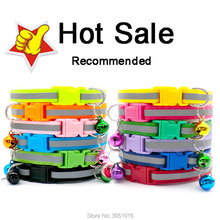 Wholesale 100Pcs Reflective Puppy Cat Collar Adjustable Lovely Dog Collars Pets Collars Dog Tag with Bells Pet Supplies