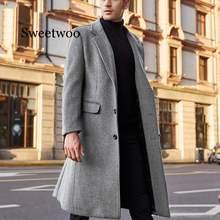 Зимние мужские пальто шерстяные однотонные куртки с длинным
