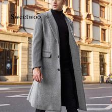 Winter Men Coats Woolen Solid Long Sleeve Jackets Fleece Men Overcoats Streetwear Fashion Long Trench Outerwear 2020 5XL