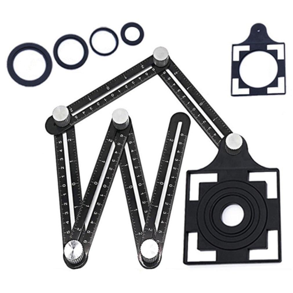Tile Hole Locator Folding Ruler Aluminum Alloy Six Fold Activity Four Folding Ruler Four Sides Parallel Multi Angle|Calipers| |  - title=