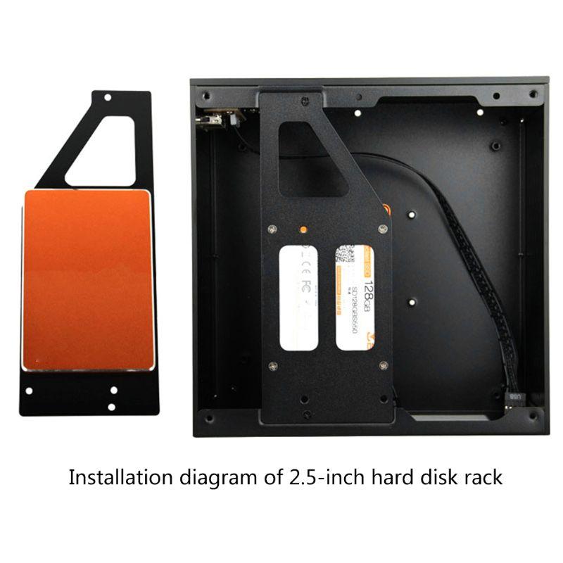 B01 Mini ITX Computer Case Chassis Aluminum/Glass Briefcase Home Theater AC-DC HTPC Computer Box Desktop PC Enclosure 4