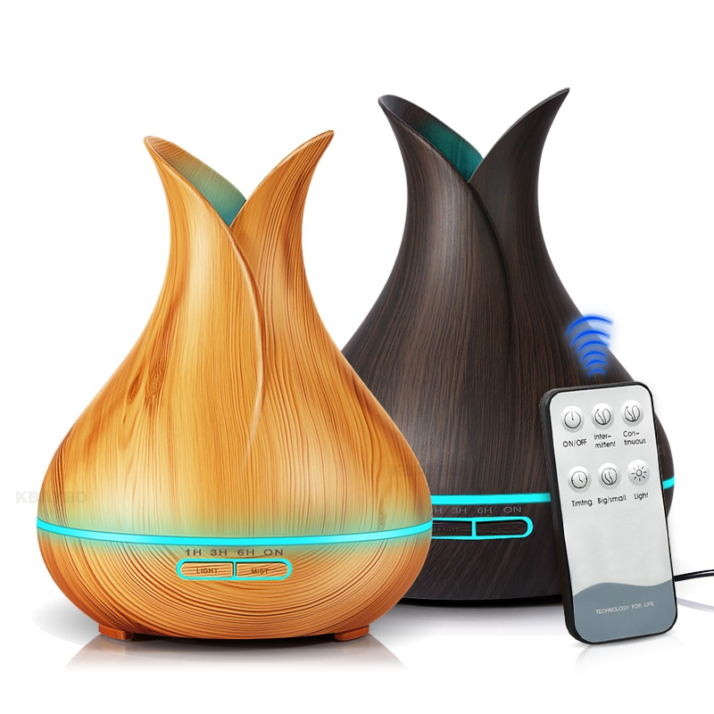 400ml Ultrasonic Air Humidifier Aroma Essential Oil Diffuser With Wood Grain 7 Color Changing LED Lights For Bedroom Living Room