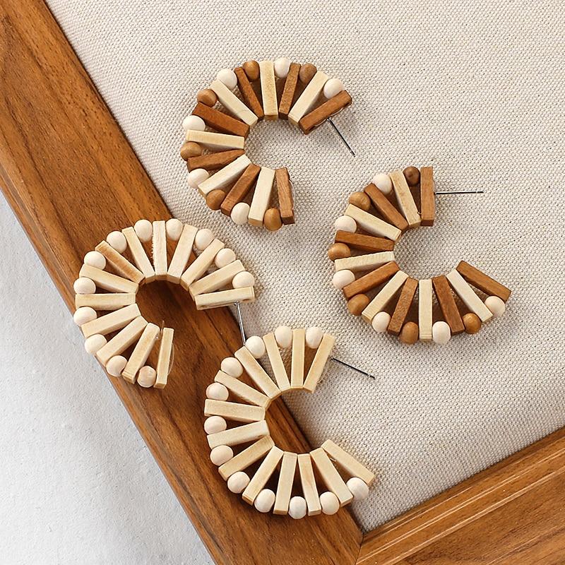 ANESOA Handmade Ethnic Wooden Earrings For Women C-type Geometric Statement Wood Bead Earrings 2020 Fashion Party Gift Jewelry