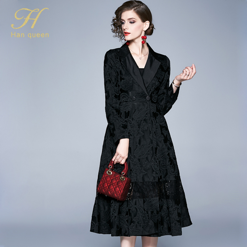 H han queen Winter Jacquard Dress Work Casual Slim Fashion Elegant Vintage Sexy Dresses Women A-line big swing Mid-calf Vestidos 28