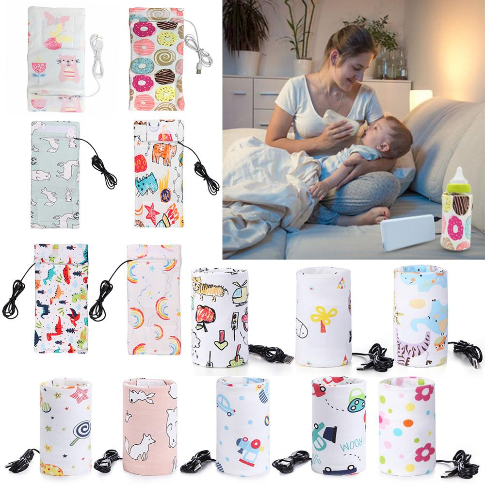 USB Charging Newborn Baby Bottle Warmer Portable Outdoor Infant Milk Feeding Bottle Heated Cover Baby Nursing Insulated Bag