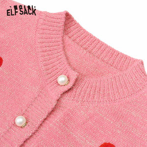 Image 5 - ELFSACK Embroidery Strawberry Pearl Button Casual Cardigan, Women 2019 Autumn Long Sleeve Golden Silk Sweet Korean Sweater