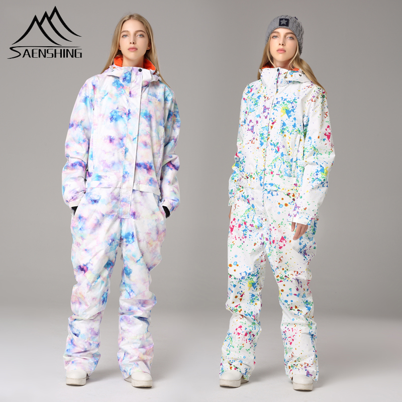 SAENSHING New One Piece Ski Suit Women Waterproof Winter Warm Snow Jumpsuit Women Mountain Skiing Suit Female