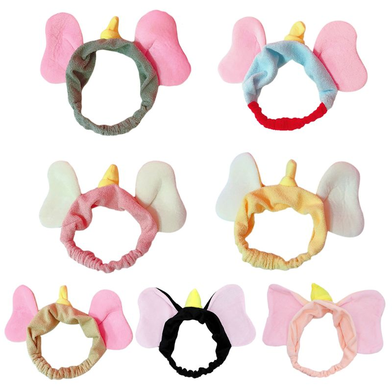 Japanese Women Girls Sweet Plush Headband Cute Cartoon Flying Elephant Ears Wide Hairband Plush Contrast Color Wash Face Turban