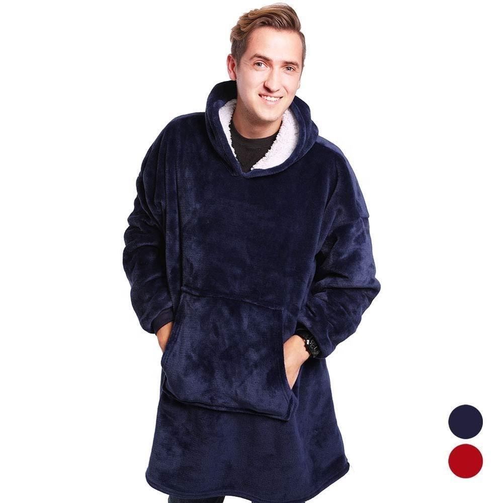 Manta polar Sherpa de felpa de color Coral, con mangas, supersuave, cálido, exterior, con bolsillo, Sudadera con capucha para adultos, mantas de invierno con capucha para TV Mantas    - AliExpress