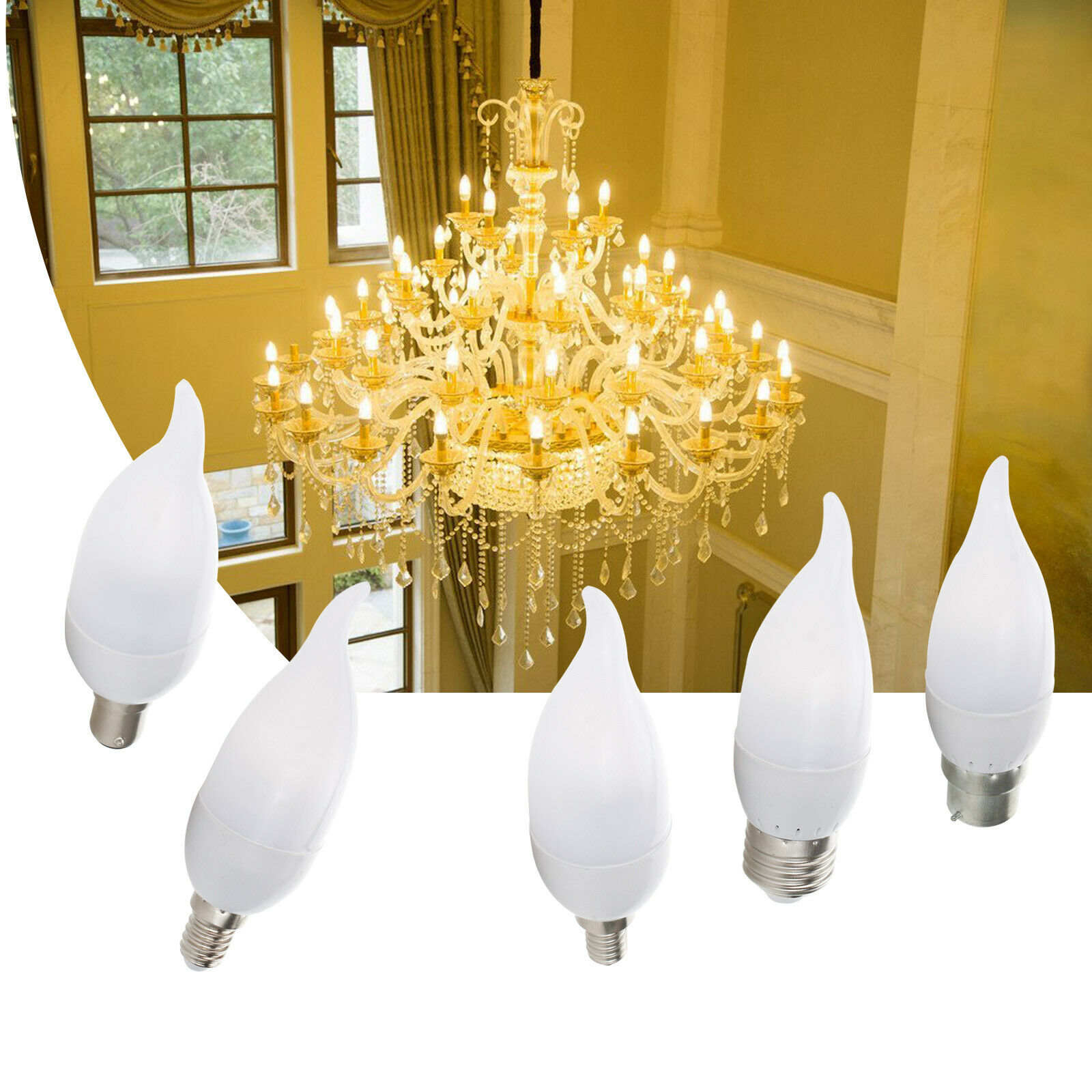 LED Flame Chandelier Bulb 3W E12 E14 SES B22 BC E27 Candle 2835 SMD Velas Decorativas Home Lighting Replace 25W Halogen Lamps