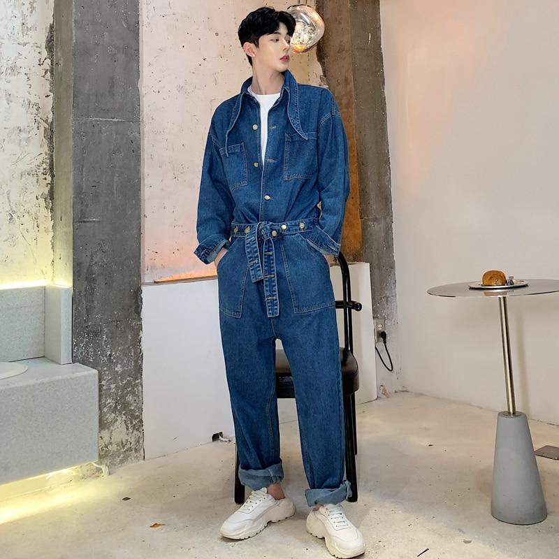 SHENGYUJIN M~2XL!!! Men's Salon Tooling Jumpsuit Loose Large Size Jumpsuit Thin Long Sleeve One Piece Tie Jeans Set Men