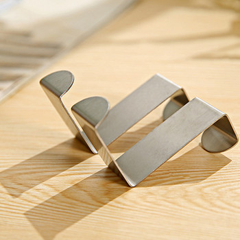 high quality delicate and elegant environmental protection 2PC Door Hook Stainless Kitchen Cabinet Clothes Hanger image