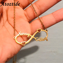 Atoztide 2019 New Stainless Steel Personalized Custom Couple Name Necklace Gold Choker Necklace Infinity Pendant Nameplate Gift