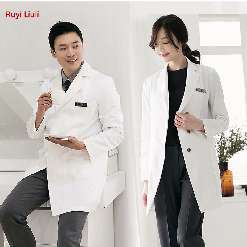 Plastic surgeon dental doctor uniform tattoo artist female doctor in white gown long sleeve coat image