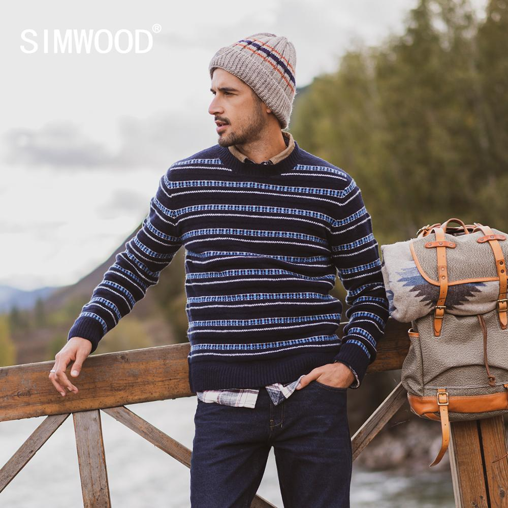 SIMWOOD 2019 Autumn Winter New Sweater Men Striped Mix Wool Contrast Color Knitted Pullover Sweaters  190412