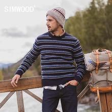 SIMWOOD 2020 automne hiver nouveau pull hommes rayé mélange laine contraste couleur tricoté pull chandails 190412