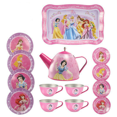 Cartoon Pattern Metal Simulated Teapot Teacup Set Afternoon Tea Tinplate Toys Pretend Play Toys For Girls Kids Toys