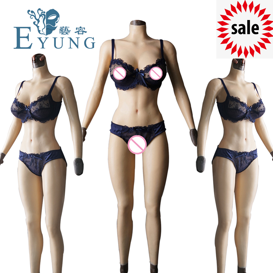 Solid Silicone Boobs Vagina Bodysuit For Crossdresser With Sleeves F Cup Breast Form Buttocks Pad Breast Plate Fake Pussy Vagina