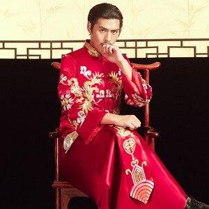 Image 2 - 2020 بدلة العريس و هو فو 2020 أزياء رجالية قديمة الصينية العريس فستان الزفاف التنين فينيكس سترة نخب بالجملة