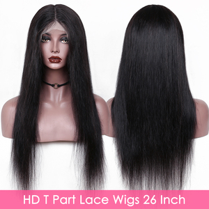 Image 2 - Straight HD 13x6x1 T Part Lace Wigs Brazilian Remy Natural Color Human Hair Lace Wigs For Black Women Pre Plucked With Baby Hair