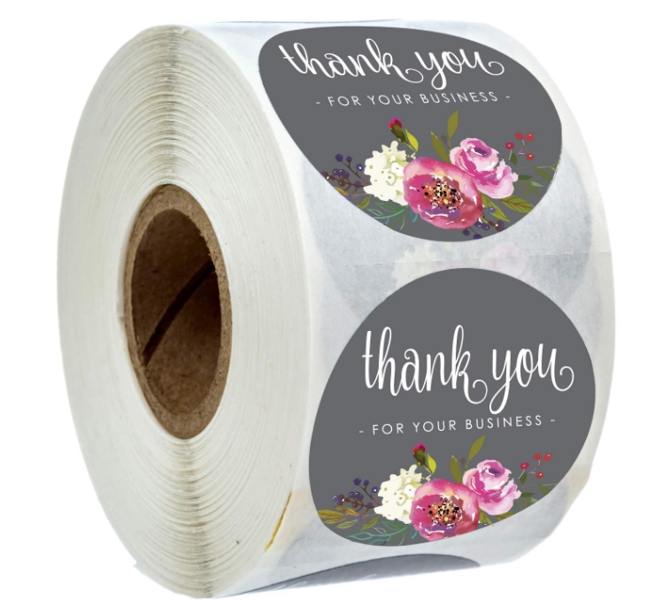 Round Floral Thank You For Your Business Stickers Scrapvooking 1inch 500pcs Handmade Stickers Envelope Seal Stationery Sticker
