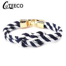 Cuteeco New Fashion Navy Blue Infinity Bracelets Men Charm Survival Rope Chain Paracord Bracelet Male Wrap Metal Sport Hooks