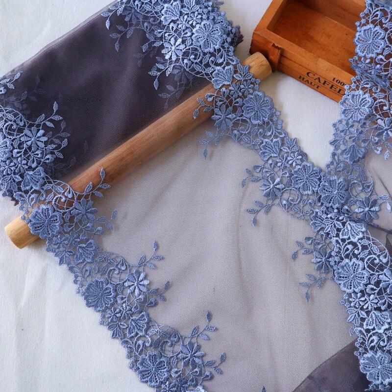 23cm de largura alta qualidade flor azul bordado tule rendas enfeites vestido acessórios rendas tecido costura artesanato boneca material