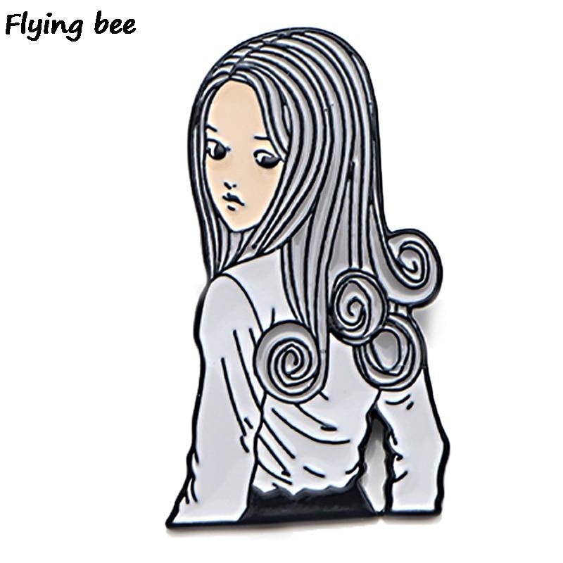 Flyingbee Junji Ito Pin Brooch And Pin Women Fashion Enamel Pins Badges Lapel Pin Funny Backpack Badges Hat Pins Jewelry X0456