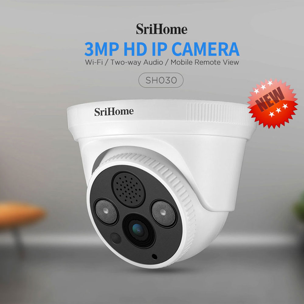 Sricam SH030 HD 3.0MP Dome IP Camera H.265 Security CCTV Wifi Camera Two Way Audio Alarm Push ONVIF Protocol Can Work On NVR image