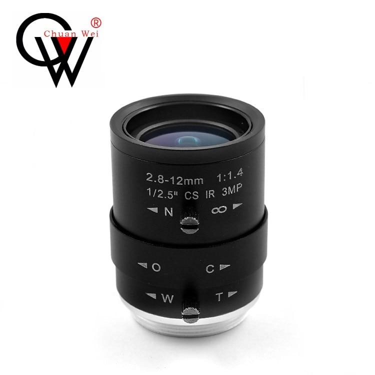 Manual Zoom Lens 2.8-12mm HD 3MP CS Interface Road Monitoring Visual Inspection Lens