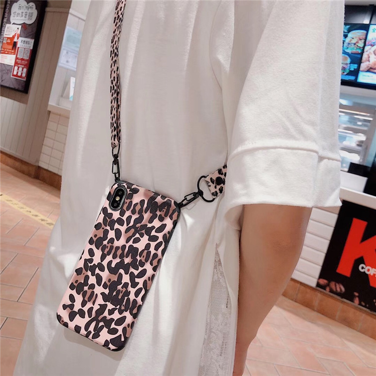 <font><b>Sexy</b></font> Leopard Shoulder Bag Phone Case For <font><b>iPhone</b></font> 11 <font><b>8</b></font> 7 6s Plus X Xs Max XR Crossbody Necklace Cord Lanyards with Rope Soft <font><b>Cover</b></font> image