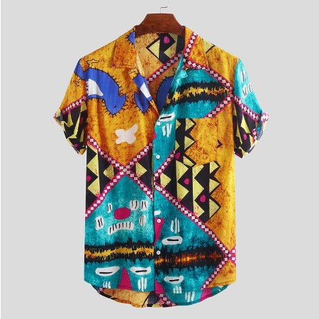 2020 Summer Printing New Style Men Shirt Short Sleeve Pockets Lapel Neck Button Casual Chemise Basic Hawaiian Shirts Men