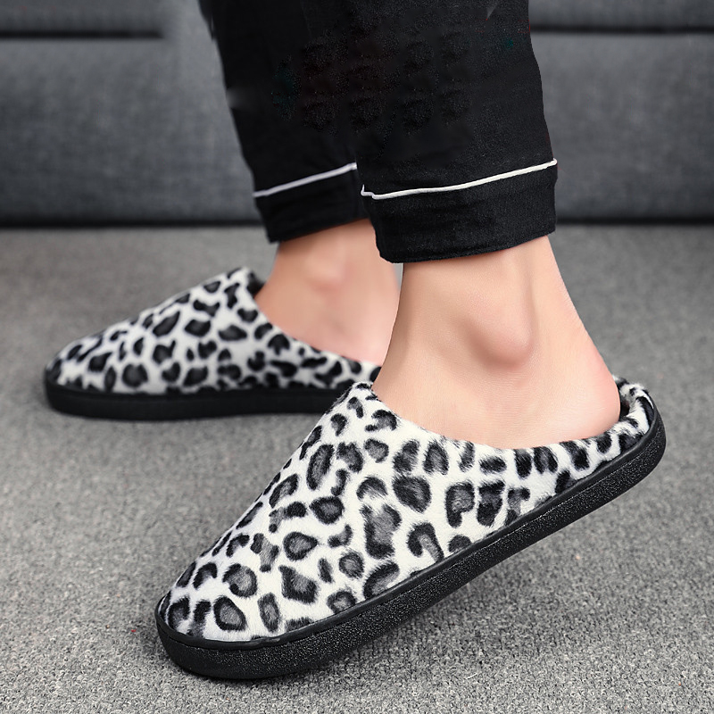Large Size 36-47 Slippers for Men Couples Leopard Print Shoes Men Winter Home Warm Slipper Plush Indoor Comfort Casual Shoes Man