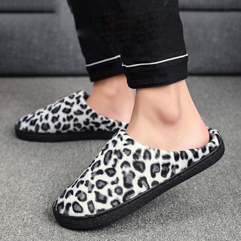 Large Size 36-47 Slippers for Men Couples Leopard Print Shoes Men Winter Home Warm Slipper Plush Indoor Comfort Casual Shoes Man winter cartoon indoor warm plush santa slippers women men children s christmas style home slipper fit christmas gifts